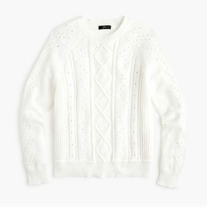 J. Crew White Cable Knit Pointelle Sweater